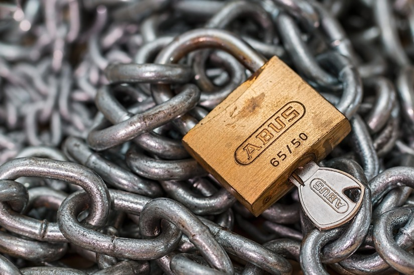 padlock, chains, key