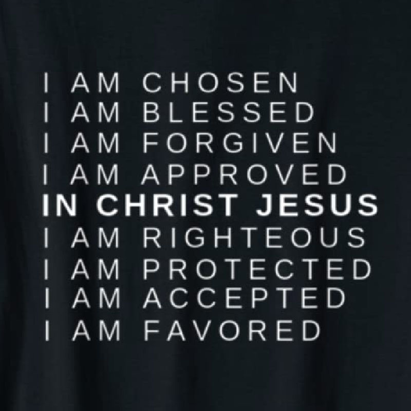 In Christ Jesus tee available on Amazon. Shown in black with white lettering. Available in multiple colors.