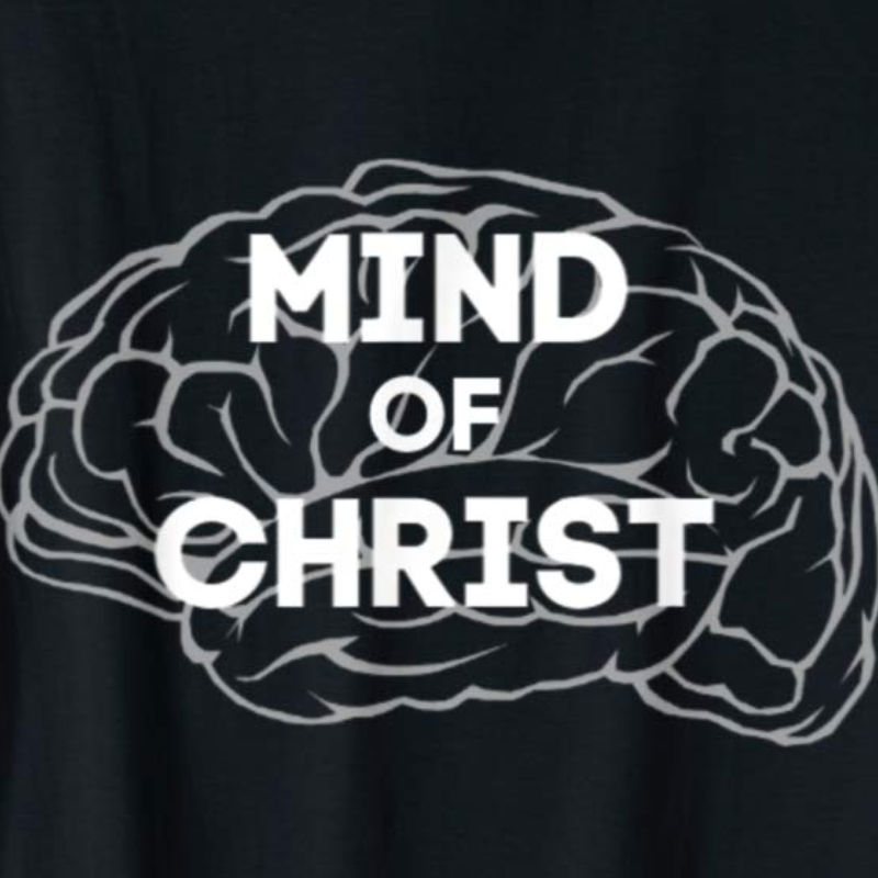 Mind of Christ tee available on Amazon. Shown in black with white lettering. Available in multiple colors.